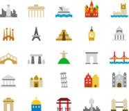 MONUMENT färgade plana symboler royaltyfri illustrationer