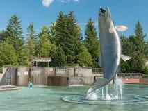 Monument för atlantisk lax i Campbellton, New Brunswick, Kanada royaltyfria bilder