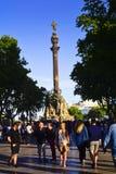 Monument för La Rambla och Columbus barcelona catalonia spain Royaltyfri Foto