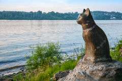 Monument faithful cat. Monument faithful cat waiting owner. The monument was installed on Bank of the river Volga Royalty Free Stock Image