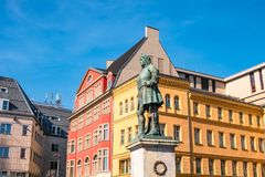 Monument of famous German composer George Frideric Handel in Hal. Le Saale Marktplatz, Germany, blue sky, sunset Stock Images