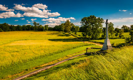 Monument and fields at Antietam National Battlefield, Maryland. Stock Images