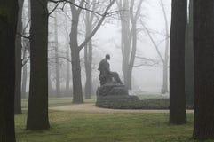Monument in fog. Inin warsaw royal bathroom Royalty Free Stock Image