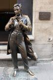 Monument of founder of masochism von Sacher-Masoch. Monument of founder of masochism Leopold Ritter von Sacher-Masoch in Lvov city in Ukraine Royalty Free Stock Image