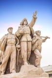 Monument framme av Maos mausoleum på den Tiananmen fyrkanten Arkivbilder