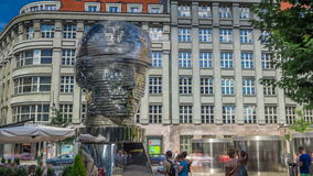 Monument of Franz Kafka timelapse in form of gigantic head with rotating segments. Prague, Czech Republic. stock video footage