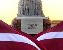 Monument of freedom in the capital of Latvia Riga city. Stock Image