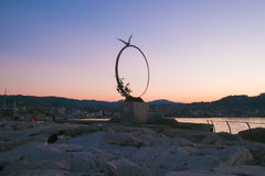 Monument Freedom Symbol Seagull Jonathan Livingston At Sunset Stock Images