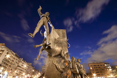 Monument in front of bullring in Madrid Stock Photo