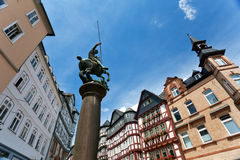 Monument in front of Rathaus in Marburg Stock Image