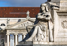 Monument in front of Teatro Nacional on the Rossio in Lisbon Stock Photo