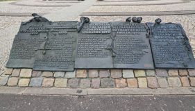Monument in Gdansk, plaque. stock images