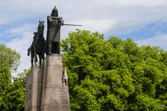 Monument of Gediminas in Vilnius, Lithuania, Europe Stock Image