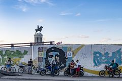 Monument General Maximo Gomez above Che Guevara wall painting, Havana, Cuba. Equestrian statue above wall painting of Ernesto Che Guevara, Leader of the Cuban Stock Photography