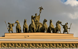 Monument on General Staff Building in Saint Petersburg Royalty Free Stock Images