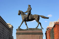 Monument Georgy Zhukov on Manege Square in Moscow Royalty Free Stock Photography