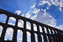 Monument geroepen Aquaduct van Segovia stock afbeelding