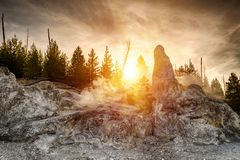 Monument Geyser Basin Spire stock images