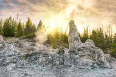 Monument Geyser Basin Spire. Siliceous spire at sunset time seen at Monument Geyser Basin. Yellowstone National Park, Wyoming - USA Stock Image