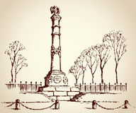 Monument of Glory in Poltava, Ukraine. Vector sketch Stock Photography