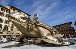Monument of the golden turtle near the Palazzo Vecchio in Florence, Italy Stock Images
