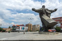 Monument of Gotse Delchev at the central square of town of Strumica, Republic of Macedonia. STRUMICA, MACEDONIA - JUNE 21, 2018: Monument of Gotse Delchev at the stock image