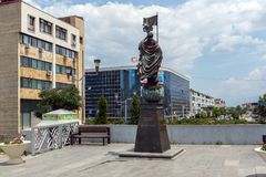Monument of Gotse Delchev at the central square of town of Strumica, Republic of Macedonia. STRUMICA, MACEDONIA - JUNE 21, 2018: Monument of Gotse Delchev at the royalty free stock photos