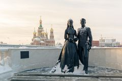 Monument of Grace Kelly and Prince Rainier III. Yoshkar-Ola, Russia - January 26, 2016 Monument of Grace Kelly and Prince Rainier III of Monaco. The monument was Royalty Free Stock Photo