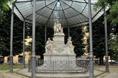 Monument grateful Italians,Nikolay Demidov beneficiary of Florence and his son - Prince Anatolia , who were patrons of the arts. FLORENCE, ITALY - JUNE 12, 2016 stock photography