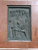 Monument Grateful Russia to soldiers of law and order. Monument bronze bas-relief Grateful Russia to soldiers of law and order, who died in the line of duty stock photo