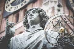 Monument of great astronomer Nicolaus Copernicus, Torun, Poland Stock Photos