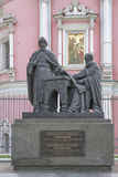 Monument Greek educators Likhud brothers. MOSCOW; RUSSIA- JULY 12- Monument Greek educators Likhud brothers on July 12; 2015 in Moscow Royalty Free Stock Photos