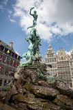 Monument on Grote Markt - Big Market Square in the Antwepen Stock Image