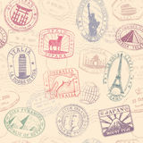 Monument grunge vector texture. Grunge hi quality vector seamless texture pattern with monuments ad famous landmarks from all over the world Royalty Free Stock Images