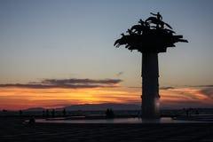 The Republic Tree Statue, Gundogdu Square, Alsancak, Izmir, Turkey, during sunset Stock Photography