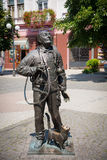 Monument of Happy Chimney Sweeper with cat Royalty Free Stock Images