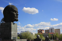 The monument is the head of Lenin in Ulan-Ude, Russia. Stock Photos