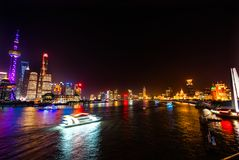 Monument Heroes Huanpu River Bund Night Lights Shanghai China Royalty Free Stock Photography