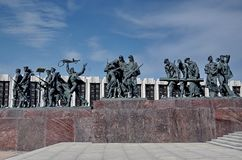 Monument `Heroic defenders of Leningrad` on Victory Square - a monument to the feat of citizens in the tragic days of the siege stock photography