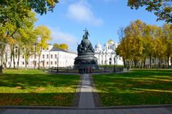 Monument het Millennium van Rusland, St Sophia Cathedral, het Kremlin stock foto