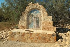 Monument in historical place of baptism of Jesus Christ in Jordan. Al-Maghtas,is an archaeological world hege site on Jordan river east bank, officially known stock images