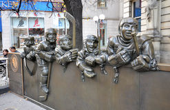 Monument of hockey players. Photo was taken in Hockey Hall of Fame Museum in Toronto City, Ontario Province, Canada. November 2013 stock photo