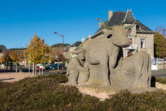 The monument in homage to paysans, Allanche village, France. Royalty Free Stock Image