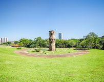 Monument in honor of the Indigenous People. Campo Grande, Brazil - April 05, 2018: Monument in honor of the Indigenous People Monumento aos Povos Indigenas at royalty free stock photo