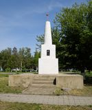 Monument in honor of the victory in the civil war for the Soviet regime. Staronizhesteblyevskaya, Russia - May 5, 2018: Monument in honor of the victory in the Royalty Free Stock Image