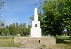 Monument in honor of the victory in the civil war for the Soviet regime. Staronizhesteblyevskaya, Russia - May 5, 2018: Monument in honor of the victory in the Stock Photo