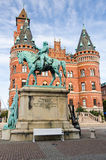 Monument of horse rider in Helsingborg Stock Photos