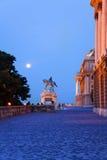 Monument of horseman near Buda Castle in Budapest Stock Images