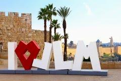 Monument I Love JLM, Jerusalem, Israel stock photos