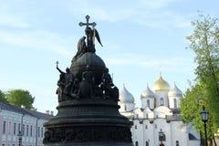 monument i Velikiy Novgorod Arkivfoto